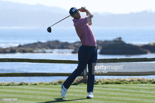 Seamus Power of Ireland plays his shot from the 18th tee during the during the first round of the AT&T Pebble Beach Pro-Am at Pebble Beach Golf Links...