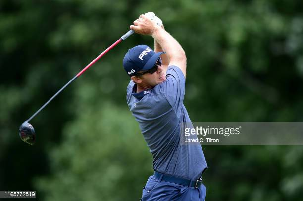 Seamus Power of Ireland plays his shot from the fifth tee during the second round of the Wyndham Championship at Sedgefield Country Club on August...