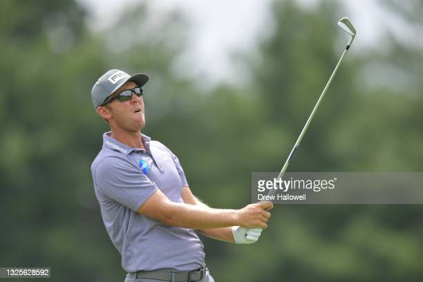 Seamus Power of Ireland plays his shot from the fifth tee during the third round of the Travelers Championship at TPC River Highlands on June 26,...