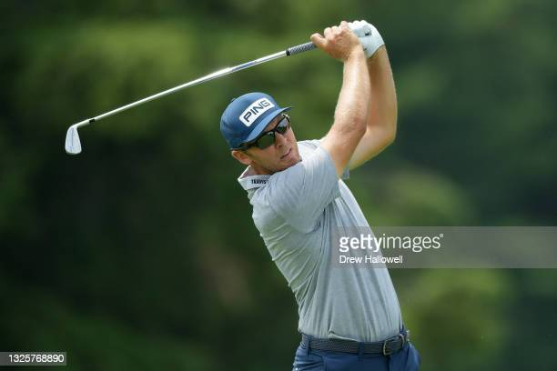 Seamus Power of Ireland plays his shot from the fifth tee during the final round of the Travelers Championship at TPC River Highlands on June 27,...