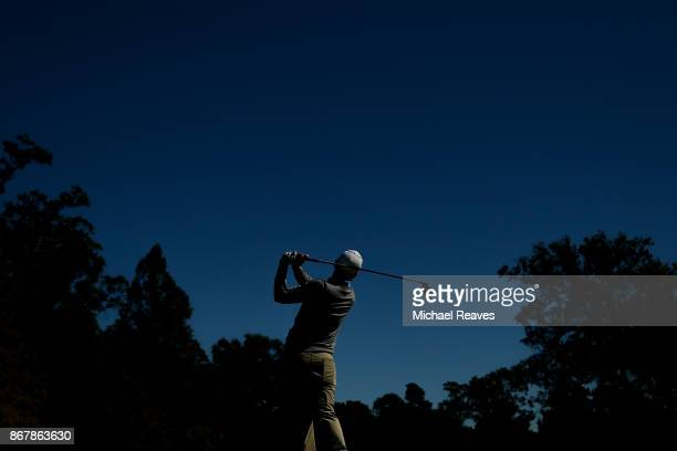 Seamus Power of Ireland plays his shot from the sixth tee during the Final Round of the Sanderson Farms Championship at the Country Club of Jackson...