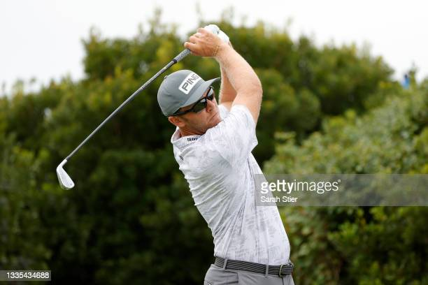 Seamus Power of Ireland plays his shot from the third tee during the third round of THE NORTHERN TRUST, the first event of the FedExCup Playoffs, at...