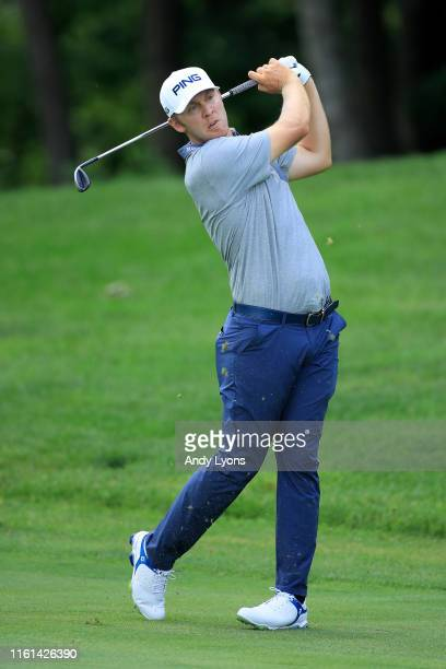 Seamus Power of Ireland plays his shot on the 15th hole during the first round of the John Deere Classic at TPC Deere Run on July 11, 2019 in Silvis,...
