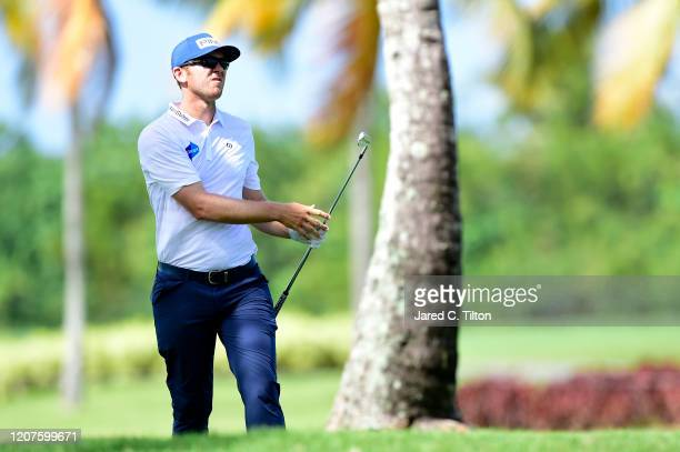 Seamus Power of Ireland plays his shot on the first hole during the first round of the Puerto Rico Open at Coco Beach Golf and Country Club on...