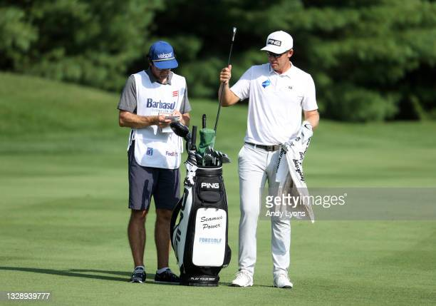 Seamus Power of Ireland prepares to play his second shot on the 11th hole during the first round of the Barbasol Championship at Keene Trace Golf...