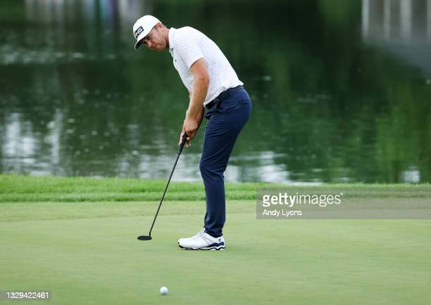 Seamus Power of Ireland putts for birdie on the ninth hole during the fourth playoff hole during the final round of the Barbasol Championship at...