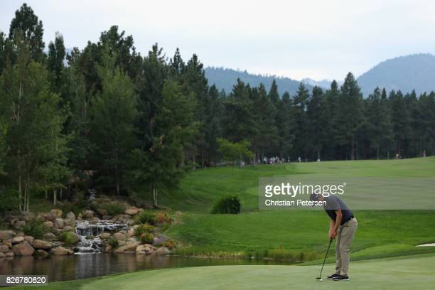 Seamus Power of Ireland putts on the 18th green during the third round of the Barracuda Championship at Montreux Country Club on August 5, 2017 in...