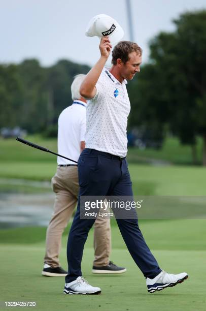 Seamus Power of Ireland reacts after putting in to win on the 18th hole during the sixth playoff hole during the final round of the Barbasol...