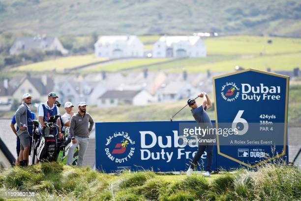 Seamus Power of Ireland takes his tee shot on the sixth hole during Day One of the Dubai Duty Free Irish Open at Lahinch Golf Club on July 04, 2019...