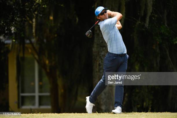 Seamus Power of Ireland tees off on the fifth tee during the first round of the Korn Ferry Tour's The King & Bear Classic at World Golf Village on...