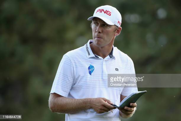 Seamus Power of Ireland waits to tee off on the 14th hole during the third round of the Barracuda Championship at Montreux Country Club on July 27,...