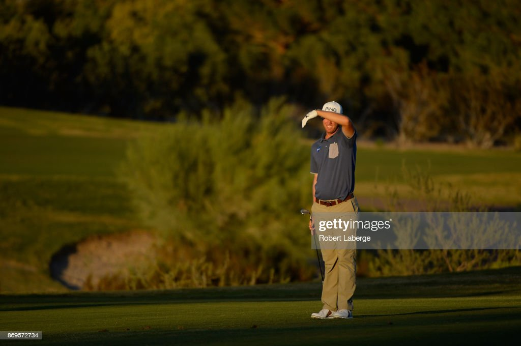 Seamus Power of Ireland watches his approach shot on the third hole during the first round of the Shriners Hospitals For Children Open at TPC Summerlin on November 2, 2017 in Las Vegas, Nevada.