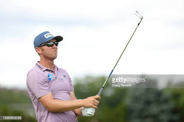 Seamus Power of Ireland watches his shot from the second tee during the final round of THE NORTHERN TRUST, the first event of the FedExCup Playoffs,...