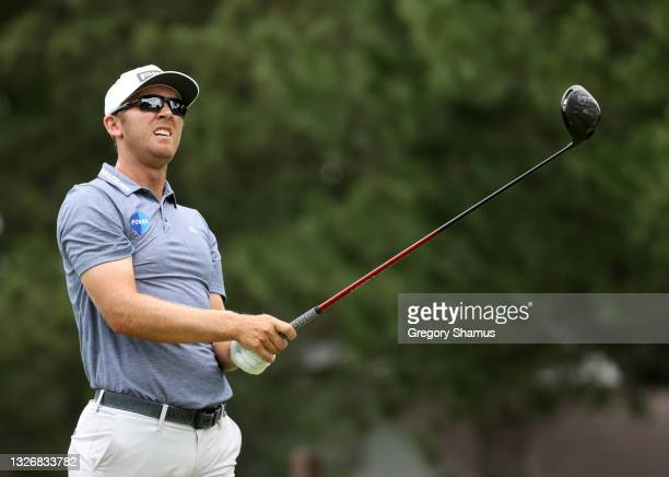 Seamus Power or Ireland plays his shot from the fourth tee during the third round of the Rocket Mortgage Classic on July 03, 2021 at the Detroit Golf...