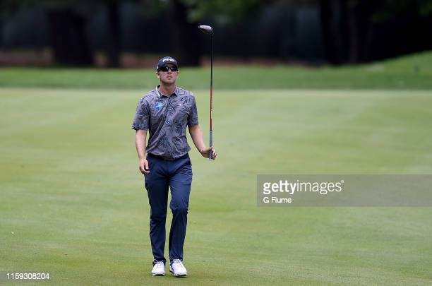 Seamus Power walks down the 10th fairway during the third round of the Travelers Championship at TPC River Highlands on June 22, 2019 in Cromwell,...