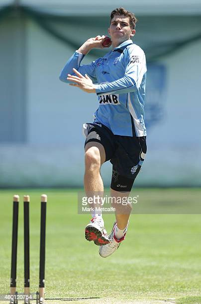 Sean Abbott bowls during a NSW Blues Sheffield Shield Nets Session at Sydney Cricket Ground on December 8 2014 in Sydney Australia