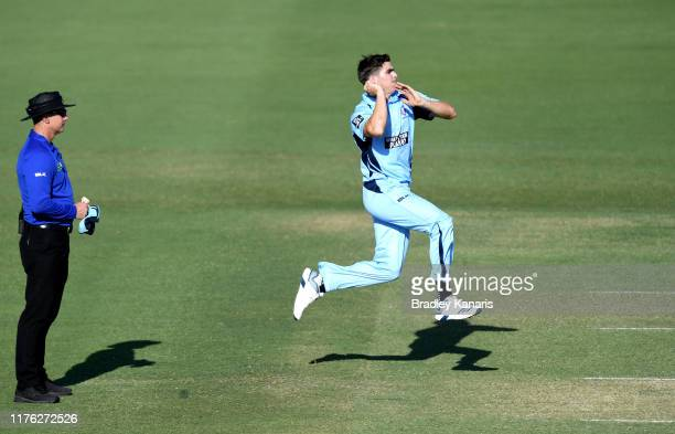 Sean Abbott of New South Wales bowls during the Marsh One Day Cup match between Queensland and New South Wales at Allan Border Field on September 22,...