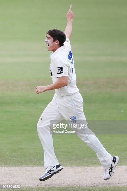 Sean Abbott of New South Wales celebrates a wicket during day three of the Sheffield Shield match between Victoria and New South Wales at Junction...