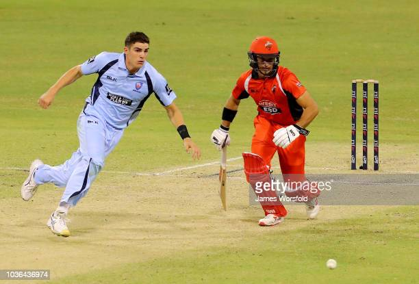 Sean Abbott of NSW and Jake Weatherald of SA watch the ball during the JLT One Day Cup match between South Australia and New South Wales at the WACA...