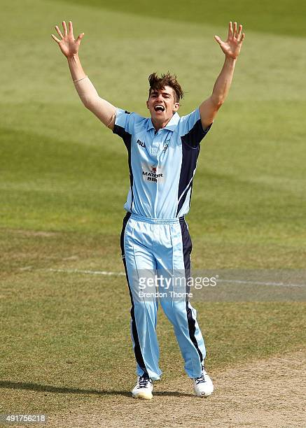 Sean Abbott of NSW celebrates after claiming the wicket of Alex Ross of South Australia during the Matador BBQs One Day Cup match between New South...