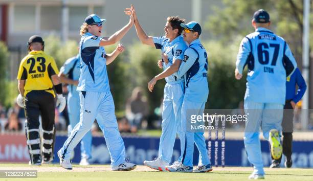 Sean Abbott of NSW celebrates after taking the wicket of Josh Phillippe of Western Australia during the 2021 Marsh One Day Cup Final match between...