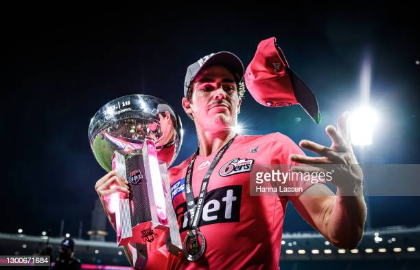 Sean Abbott of Sixers with trophy after winning the Big Bash League Final match between the Sydney Sixers and the Perth Scorchers at the Sydney...