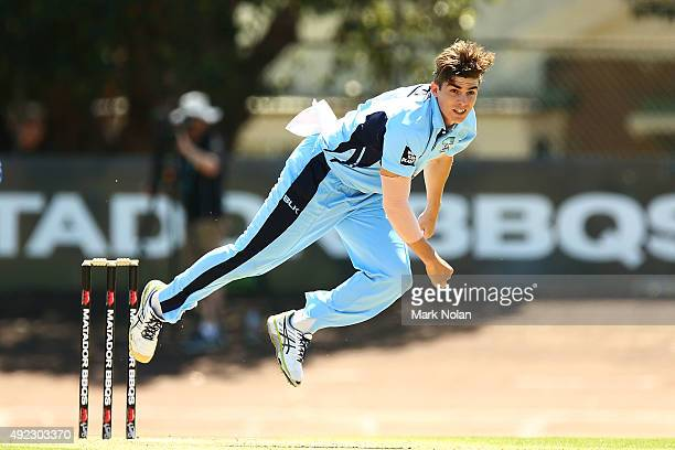 Sean Abbott of the Blues bowls during the Matador BBQs One Day Cup match between Tasmania and New South Wales at Hurstville Oval on October 12 2015...