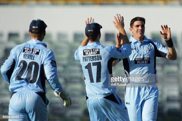 Sean Abbott of the Blues celebrates after taking the last wicket to defeat the Tigers during the One Day Cup match between New South Wales and...