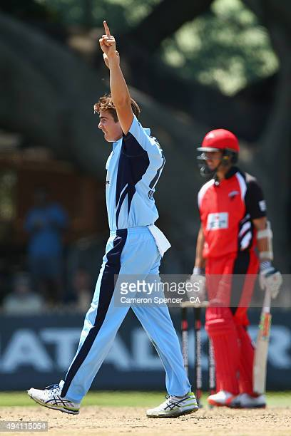 Sean Abbott of the Blues celebrates dismissing Tom Cooper of the Redbacks during the Matador BBQs One Day Cup final match between New South Wales and...