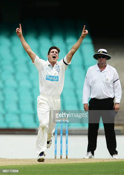 Sean Abbott of the Blues celebrates taking the wicket of Nathan Reardon of the Bulls during day one of the Sheffield Shield match between New South...