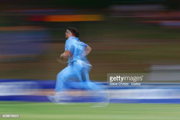Sean Abbott of the Blues comes in to bowl during the Matador BBQ's OneDay Cup between New South Wales Blues and Queensland Bulls at Drummoyne Oval on...