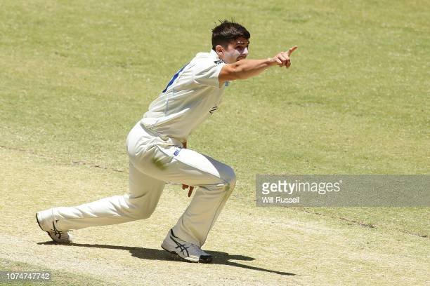 Sean Abbott of the Blues unsuccessfully appeals for the wicket of Marcus Stoines of the Warriors during Day four of the Sheffield Shield match...