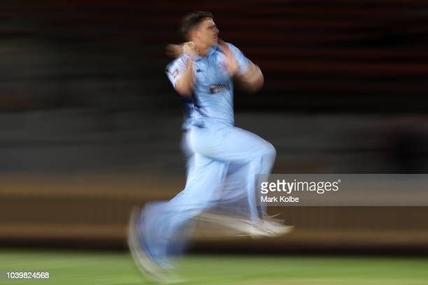 Sean Abbott of the NSW Blues bowls during the JLT One Day Cup match between New South Wales and Tasmania at North Sydney Oval on September 25 2018 in...