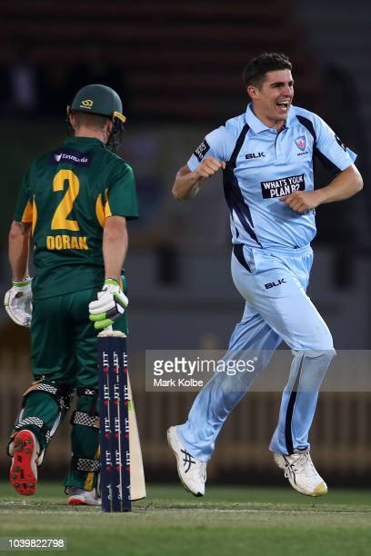 Sean Abbott of the NSW Blues celebrates taking the wicket of Jake Doran of the Tigers during the JLT One Day Cup match between New South Wales and...
