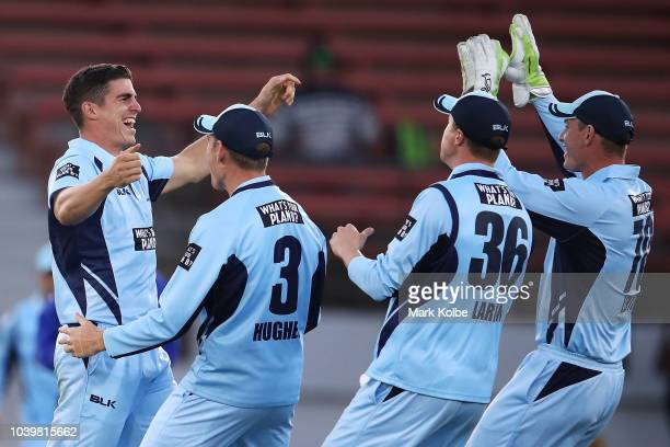 Sean Abbott of the NSW Blues celebrates with his team mates after taking the wicket of Matthew Wade of the Tigers during the JLT One Day Cup match...