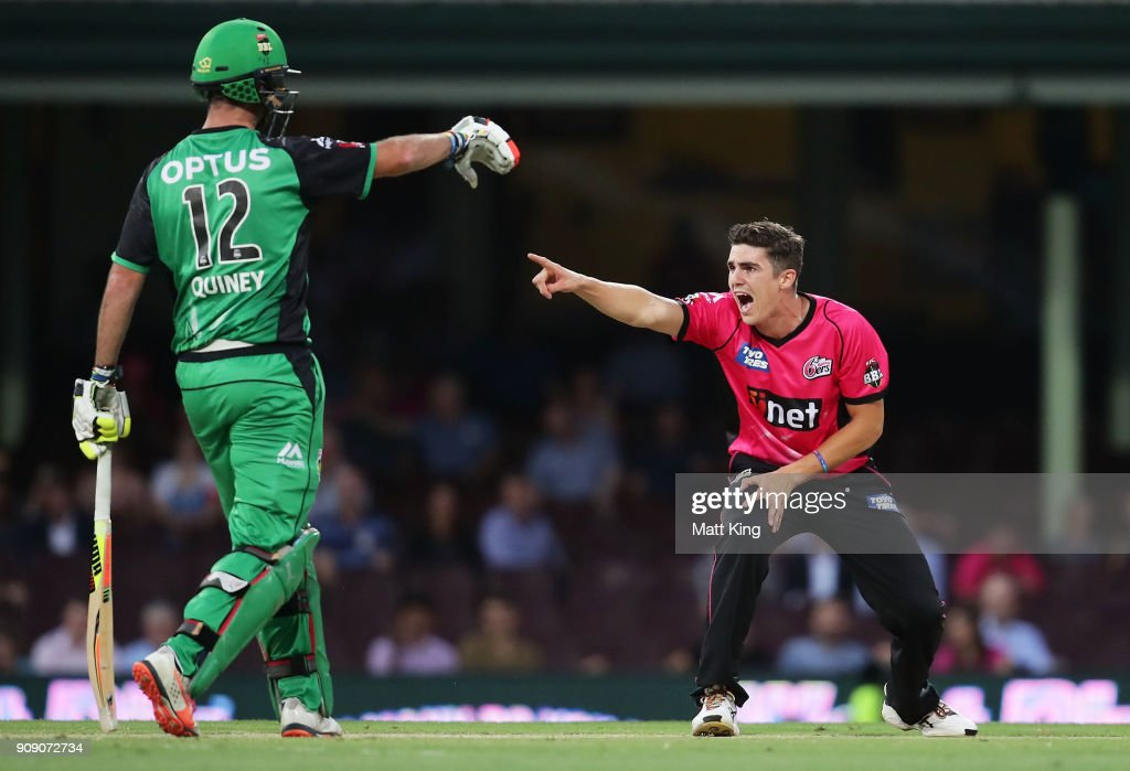 Sean Abbott of the Sixers appeals during the Big Bash League match between the Sydney Sixers and the Melbourne Stars at Sydney Cricket Ground on January 23, 2018 in Sydney, Australia.