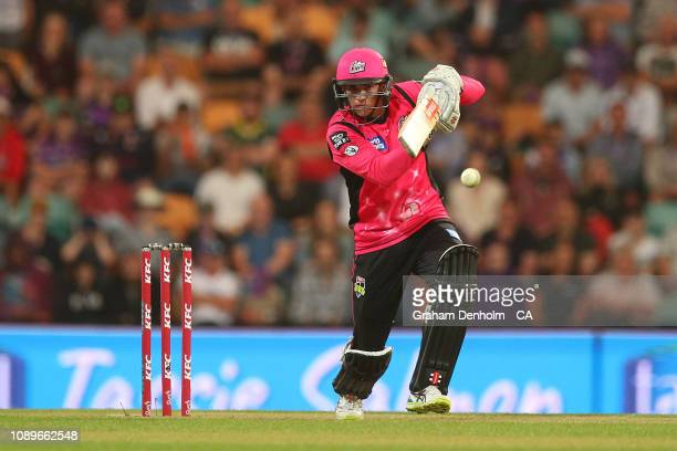Sean Abbott of the Sixers bats during the Big Bash League match between the Hobart Hurricanes and the Sydney Sixers at Blundstone Arena on January 04...