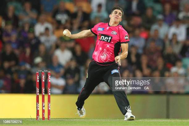 Sean Abbott of the Sixers bowls during the Big Bash League match between the Hobart Hurricanes and the Sydney Sixers at Blundstone Arena on January...