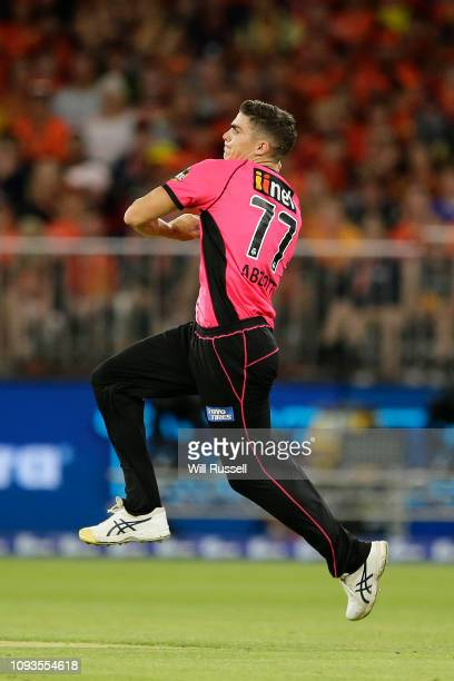 Sean Abbott of the Sixers bowls during the Big Bash League match between the Perth Scorchers and the Sydney Sixers at Optus Stadium on January 13...