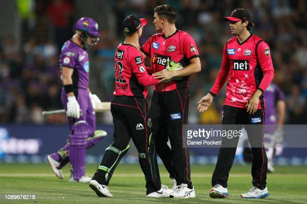 Sean Abbott of the Sixers celebrates after dismissing D'Arcy Short of the Hurricanes during the Big Bash League match between the Hobart Hurricanes...