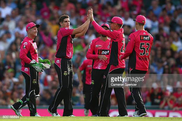 Sean Abbott of the Sixers celebrates dismissing Aiden Blizzard of the Thunder during the Big Bash League match between the Sydney Sixers and the...