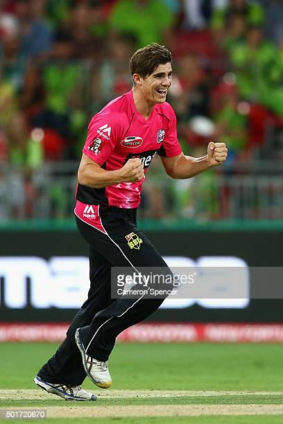 Sean Abbott of the Sixers celebrates dismissing Jacques Kallis of the Thunder during the Big Bash League match between the Sydney Thunder and the...