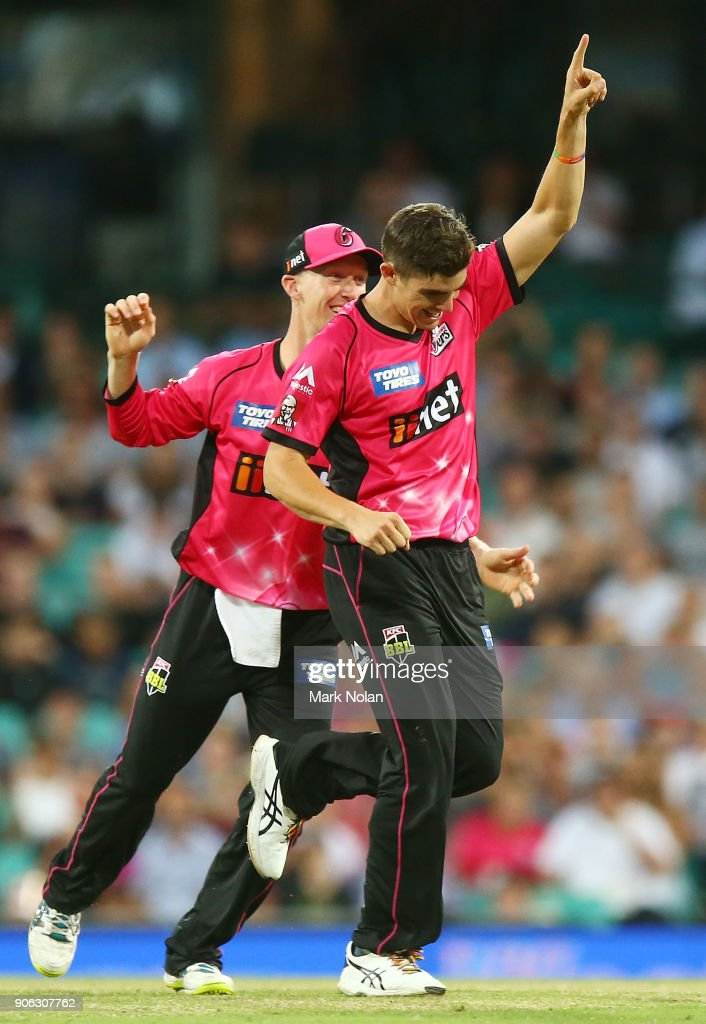 Sean Abbott of the Sixers celebrates getting a wicket during the Big Bash League match between the Sydney Sixers and the Brisbane Heat at Sydney Cricket Ground on January 18, 2018 in Sydney, Australia.