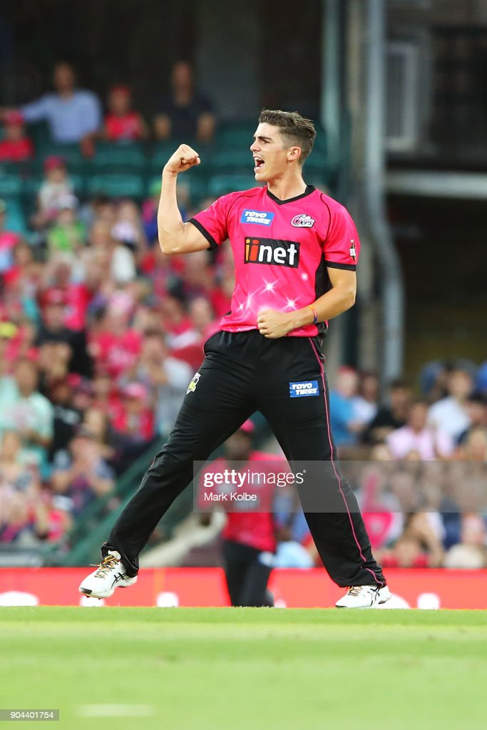 Sean Abbott of the Sixers celebrates taking the wicket of Shane Watson of the Thunder during the Big Bash League match between the Sydney Sixers and the Sydney Thunder at Sydney Cricket Ground on January 13, 2018 in Sydney, Australia.