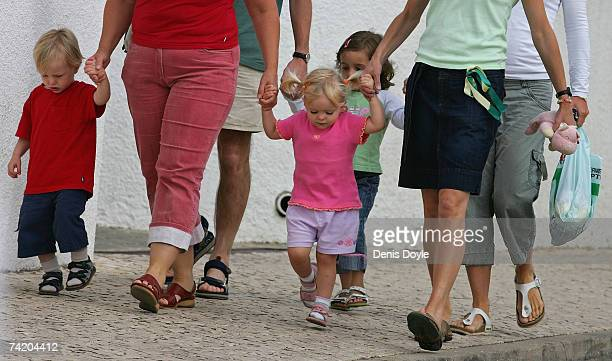 Sean and Amelie McCann are droped off by their mother Kate McCann at the Ocean Club holiday resort on May 21 2007 in Praia da Luz Portugal Kate's...