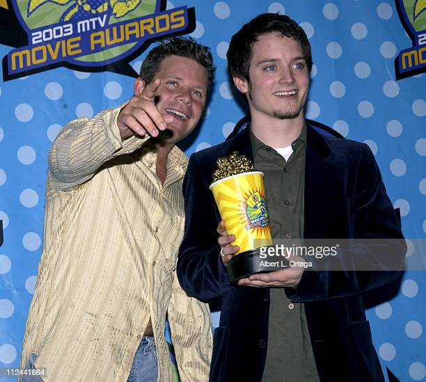 Sean Astin and Elijah Wood during 2003 MTV Movie Awards Press Room at Shrine Auditorium in Los Angeles California United States