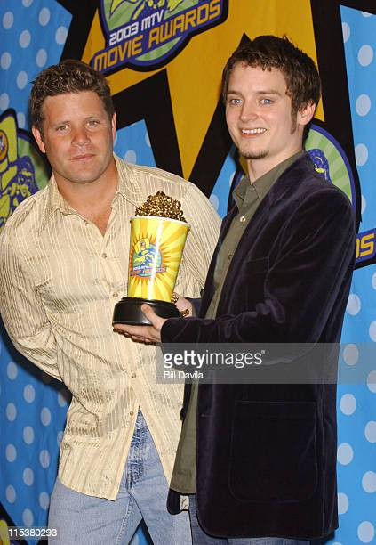 Sean Astin and Elijah Wood during 2003 MTV Movie Awards Press Room at The Shrine Auditorium in Los Angeles California United States