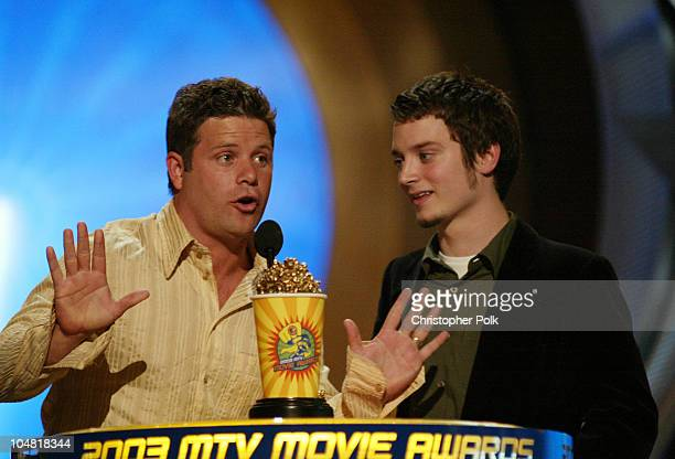 Sean Astin and Elijah Wood during 2003 MTV Movie Awards Show at The Shrine Auditorium in Los Angeles California United States