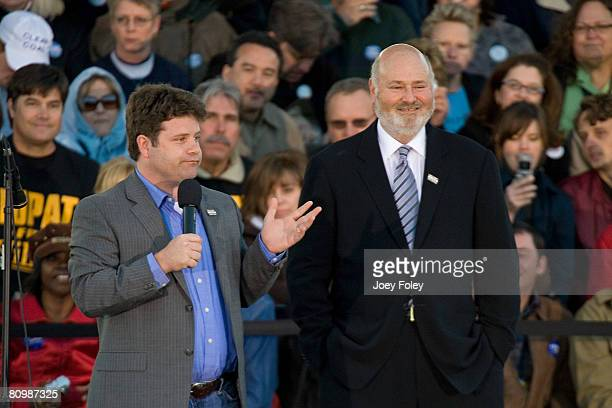 Sean Astin and Rob Reiner speak in front of a crowd at a campaign stop for Democratic presidential hopeful New York Senator Hillary Rodham Clinton at...