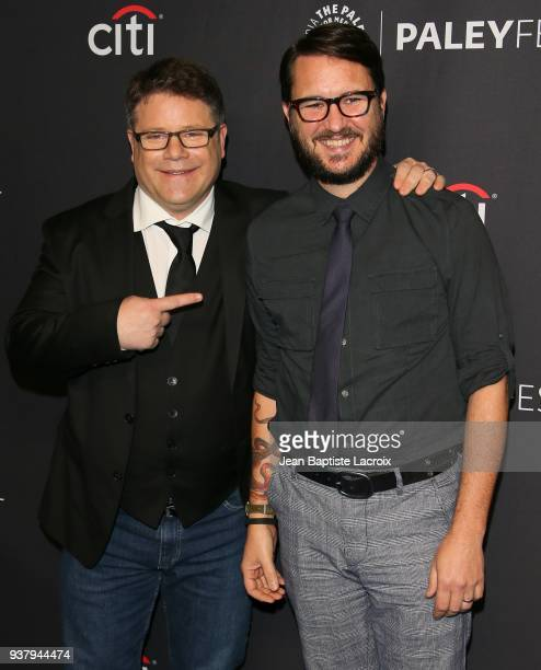 Sean Astin and Wil Wheaton attend The Paley Center for Media's 35th Annual PaleyFest Los Angeles 'Stranger Things' at Dolby Theatre on March 25 2018...